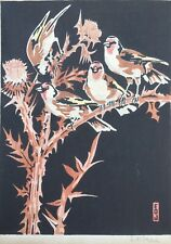 c.1920's Grosvenor/Japanese Style Woodblock Print of Goldfinch by E.O. Jones
