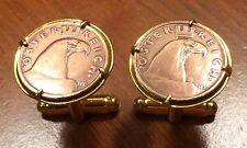 Vintage 1925-1938 Austria Eagle Head Austrian Bronze Coin Cufflinks + Gift Box