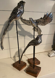 Birds Silver Plated Set of Three on Stand Pedestal Perch Bird Lover Pewter