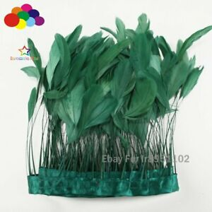 4-6Inch Factory 10 Meter Dark green Stripped Rooster Coque Tail Feathers Trims