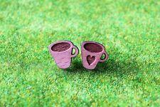 Pair - Wooden Laser Cut Coffee Mug Stud Earrings with gift bag