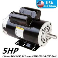 Pro 5 HP Air Compressor Duty Electric Motor Frame 3450 RPM Single Phase 22 AMP