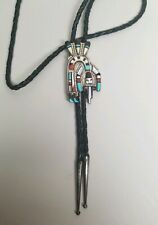 ZUNI STERLING SILVER Bolo Tie HERBERT ESTER CELLICION Inlay Kachina Rainbow Man