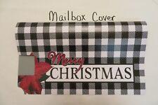 "Magnetic Mailbox Cover ""Merry Christmas"" Buffalo Check, Black White, Poinsettia"