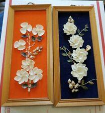 2 vtg Sea Shell 3D Floral Framed Picture Tiki Mod Art Vintage 11 x 5