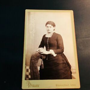 Antique Cabinet Card Photograph Photo HAUNTINGLY BEAUTIFUL Woman Shenandoah, IA
