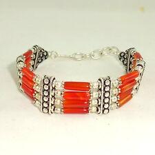 Bracelet natural red onyx beaded gemstone beautiful shape 30 grams