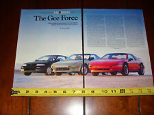 PONTIAC FIERO FORMULA - TOYOTA MR2 - HONDA CRX Si - ORIGINAL 1988 ARTICLE