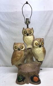 Vtg 1950-60's Chalkware Table Lamp Owl Mom Dad Two Babies Planter Cabin Farm