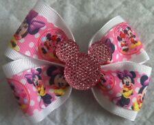 "Girls Hair Bow 4"" Wide Pink White Minnie Sparkly Pink Minnie French Barrette"