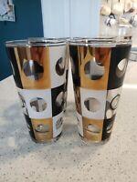 Vtg MCM glass tumblers, black, white gold. CULVER  Libbey glasses set of 4 Rare