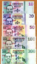 SET Swaziland, 10-20-50-100-200 Emalangeni, 2010-2015, UNC