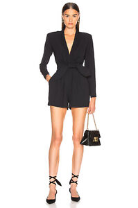 Women's A.L.C. Heston Black Long Sleeve Belted Romper Jumpsuit Size 12 NWTS