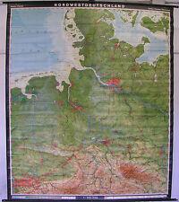 Schulwandkarte muro mapa tarjeta schulkarte el noroeste de Alemania 190x224 1971 Map