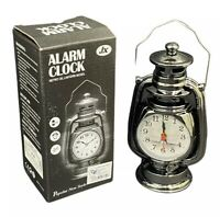 Vintage Retro Oil Lamp Alarm Clock Watch Table Kerosene Living Room Bedside Gift