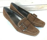 Stuart Weitzman Size 7.5 Women's Brown Suede Square Toe Kitten Heel Pumps Shoes