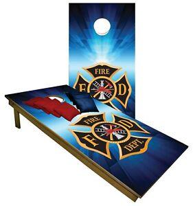 CORNHOLE BEANBAG TOSS GAME Fire Department Blue w Bags Game Board Set