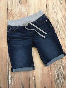 JUSTICE Girls Bermuda Denim Jean Shorts Sz 10 Slim Pull On Elastic Waist EUC