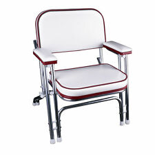 Portable Folding Deck Chair with Aluminum Frame and Armrests(White/Red)