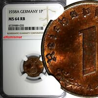 Germany-Third Reich Bronze 1938 A 1 Reichspfennig NGC MS64 RB NICE RED KM# 89