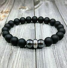 """HIP 8""""L STAINLESS STEEL 10mm Black Onyx+Hematite Gemstone Beaded Men's Bracelet"""