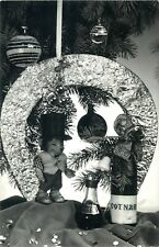 New Year luck hedgehog puppet cotnari champagne horseshoe greetings postcard