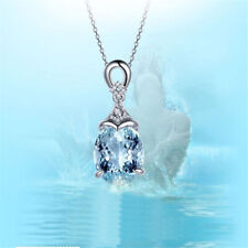 Vintage Gemstone Natural Aquamarine Necklace Silver Chain Pendant Women Jewelry