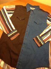 VTG Wrangler Pearl Snap Western Shirt Aztec Print Sz 18-35