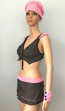 Womens Polka Dot Black Pink Skirt Top Hat Chef Costume Lingerie Role Play XS S