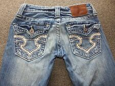 BIG STAR Jeans Sweet Boot Ultra Low Rise 24 R X 31  Stretch Distressed