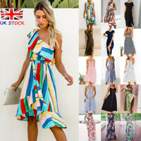 UK Womens Swing One Shoulder Ruffles Holiday Beach Boho Ladies Summer Midi Dress