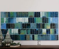 """XXL 60"""" HAND PAINTED CANVAS ABSTRACT GLASS TILE PAINTING MODERN GALLERY WALL ART"""