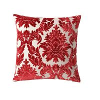 18-inch Red Damask Throw Pillow, New