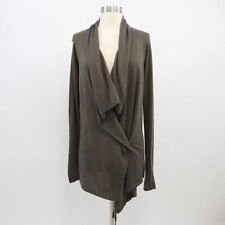 Vince Cardigan Sweater Womens S Small Waterfall Front Draped OliveGreen Cashmere