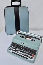 WORKING Portable Blue Olivetti LETTERA 32 Vintage Typewriter With Case
