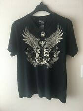 Men`s T Shirt Black Print Size Large Graphic Tee Pattern Angels