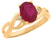 10k or 14k Yellow Gold Simulated Ruby White CZ Accent Twisting Band Ladies Ring