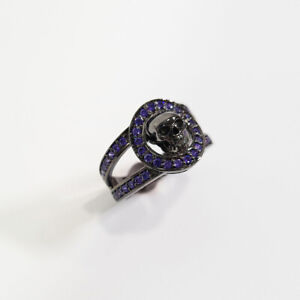 0.45TCW Purple Diamond Skull Biker Ring Gothic Skull Wedding Band Gun Metal Fn