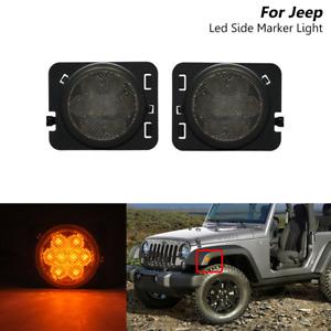 Smoked Led Amber Side Marker Turn Signal Lights For Jeep Wrangler JK 2007-2017