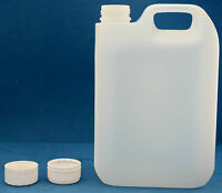 2.5 Litre Natural Plastic Jerry Cans with 38mm Wadded Tamper Evident Caps (1-8)