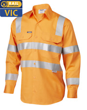Hi Vis orange work shirt Vic rail compliant - 5XL free postage !