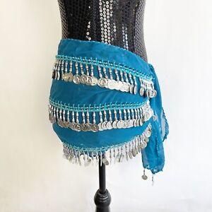 Belt Belly Dance Costume Blue Hip Scarf Dancing Skirt Wrap Belt Coins