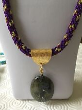"A Labradorite Pendant on a Gold, Red & Purple Kumihimo 24.5"" Cord"