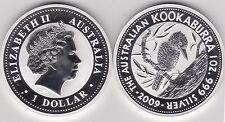2009 Australia plata Kookaburra en rama 1 OZ (approx. 28.35 g). y árbol en Cápsula