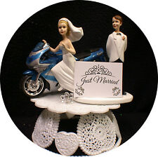 Kawasaki blue NINJA Motorcycle Wedding Cake Topper Bike Funny Groom Top ONLY 1