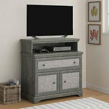 Altra Furniture Stone River Media Dresser with Fabric Inserts- Dark Gray Oak NEW