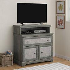 Altra Furniture Stone River Media Dresser with Fabric Inserts- Dark Gray Oak NEW