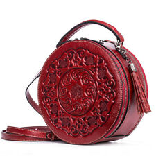 Real leather personality round double zipper  women  handbag  shoulder bag