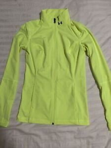 Under Armour Fitted Full Zip Long Sleeve Neon Pullover Shirt Size Xs
