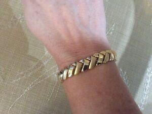 "Vintage 14K Yellow Gold Chevron Bracelet, Solid Links, 20.7g, 7 1/4"", Italy"